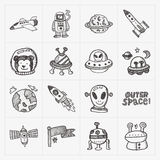 Doodle space element icon set Royalty Free Stock Image