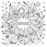 Doodle space elements Stock Image
