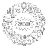 Doodle space elements Stock Photos