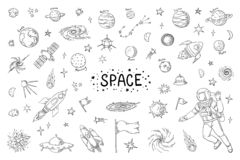 Doodle space. Trendy universe pattern, star astronaut meteor rocket comet astronomy elements. Vector cosmic pencil royalty free illustration