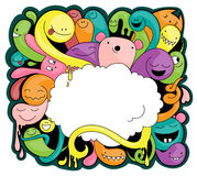 Doodle with space for your text. Funny doodle of imaginary creatures. You can place your text in the cloud Stock Photos