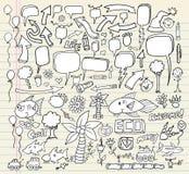 Doodle Speech Bubble Design Set Stock Photos
