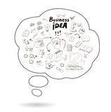 Doodle speech bubble icon with business idea stock illustration