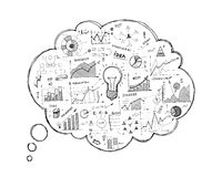 Doodle speech bubble icon with infographics Royalty Free Stock Photo