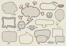 Doodle speech bubbles. Set of hand drawn speech bubbles Stock Photography
