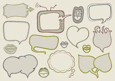 Doodle speech bubbles. Set of hand drawn speech bubbles Royalty Free Stock Photo