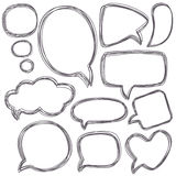 Doodle speech bubbles. Different sizes and forms. Stock Photography