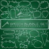 Doodle speech bubbles with hearts and clouds Stock Image