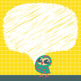 Doodle speech bubbles with owls. Vector illustration vector illustration