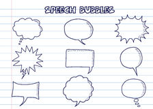 Doodle speech bubbles Stock Images