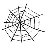 Doodle spiderweb isolated on white background. Vector Royalty Free Stock Photos