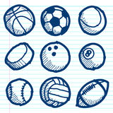 Doodle Sport Ball Icons stock illustration