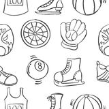 Doodle of sport equipment various pattern Stock Image