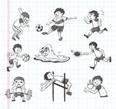 Doodle sport player icons Royalty Free Stock Images