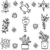 Doodle of spring flower bird element Royalty Free Stock Photos