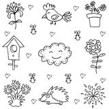 Doodle of spring flower and bird. Vector art Stock Photo