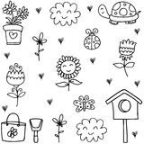 Doodle of spring theme collection Stock Image