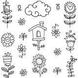 Doodle of spring theme flower collection Stock Image