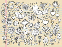 Doodle Spring Time Design Vector Set Royalty Free Stock Photo