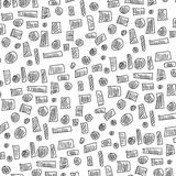 Doodle square and circle pattern Stock Photos