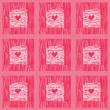 Doodle Squares Seamless Pattern With hearts. Pink Backdrop Stock Photos