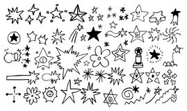 Doodle star element set Royalty Free Stock Images