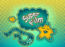 Doodle star pointing on Speech bubble with inscription Super film Royalty Free Stock Image