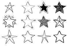 Doodle stars. Set in black and white stock illustration