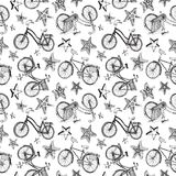 Doodle stars and bicycles pattern. Cute doodle bicycles stars on white background. Seamless pattern Stock Photo