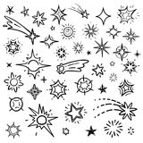 Doodle stars vector set isolated on white. Hand drawn sky with star and comets collection. Sketch drawn star, doodle comet and meteor illustration Royalty Free Stock Photo