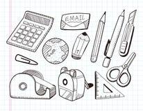 Doodle Stationery Icons Stock Image