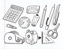 Doodle stationery icons royalty free illustration