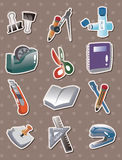 Doodle stationery stickers. Cute cartoon vector illusttration Stock Images