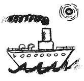 Doodle steamship Stock Photo