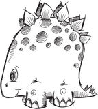 Doodle Stegosaurus Dinosaur Vector Royalty Free Stock Images