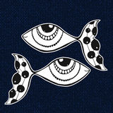 Doodle sticker of fishes. Horoscope sing of zodiac Stock Image
