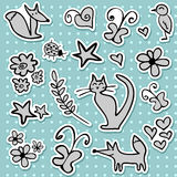 Doodle stickers Royalty Free Stock Images