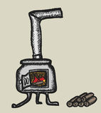 Doodle stove and firewood Stock Image