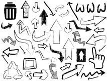 Doodle strzała znaka tło Obrazy Stock