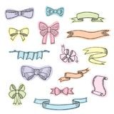 Doodle style banner, sketch ribbons and bows on white background Royalty Free Stock Photos