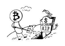 Doodle style Bitcoin bury the US dollar, funny cartoon. Vector format. Royalty Free Stock Images