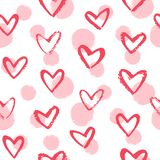 Doodle style brush drawn hearts and dots seamless vector pattern. Doodle style brush drawn hearts and circles, dots seamless vector pattern, texture. Pink, red vector illustration