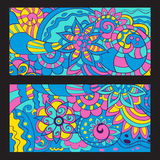 Doodle style cards with colorful elements. Vector Stock Photos