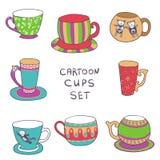 Doodle style cartoon cups - vector tea or coffee set Stock Image