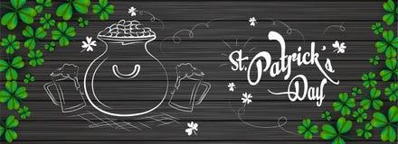 Doodle style cauldron with beer mugs illustration on black wooden background. Doodle style cauldron with beer mugs illustration on black wooden background stock illustration