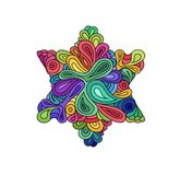Doodle style colorful hexagram illustration. Colorful zentangle hexagram sketch. Hexagram tattoo sketch. Ethnic wavy six points st. Ar  illustration on white Royalty Free Stock Photography