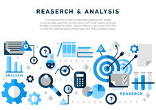 Doodle style concept of general research. And analysis, problem solving, collecting data, scientific technologies approach. Flat illustration for web banners vector illustration