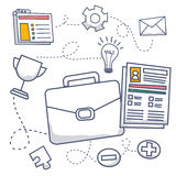 Doodle style concept of project management, organizing, controlling company resources. Risks, achieving project goals. Modern line style illustration for web Royalty Free Stock Image