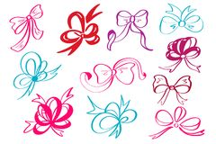Doodle style decorative multicolor ribbon and bow vector illustration Stock Photography