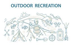 Doodle style design concept of outdoor recreation and travel. Royalty Free Stock Photo